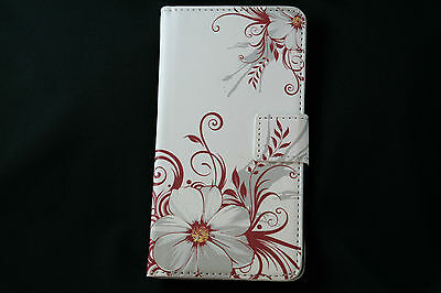 AU5.90 • Buy White Flower Leather Wallet Case Samsung S5 S6 IPhone 6 Sony Z3 HTC M9