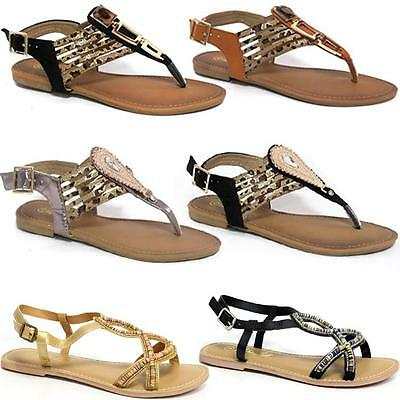 Ladies Gladiator Sandals New Womens Flat Strappy Fancy Summer Beach Shoes Size • 4.95£