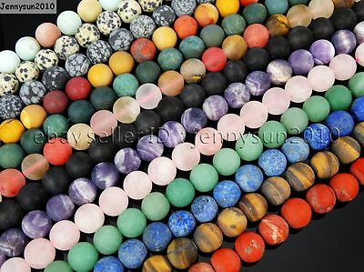 $ CDN2.55 • Buy Natural Matte Frosted Gemstone Round Loose Beads 15'' 4mm 6mm 8mm 10mm 12mm