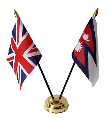 £6.99 • Buy United Kingdom & Nepal Double Friendship Table Flags Set With Base