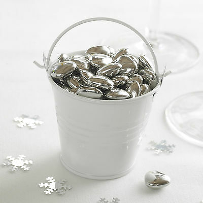 £6.95 • Buy 5 WHITE PLAIN TIN FAVOUR PAILS Buckets Sugared Almonds Sweets T Lights Chocs