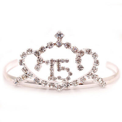 $ CDN8.50 • Buy Sweet 15 Quinceanera Silver Pt Heart Clear Crystal Tiara Crown Prom Gift Lot