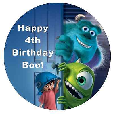 Monster Inc Personalised Cake Topper 7.5  Edible Wafer Paper Birthdays • 1.90£