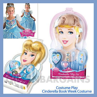 Disney Princess Cinderella Book Week Character Costume Wig Jewellery Make-up Set • 25.52£