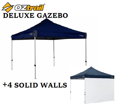 AU329 • Buy OZTRAIL DELUXE GAZEBO With 4 SOLID WALL KITS 3Mx3M SHADE SHELTER MARQUEE STALL