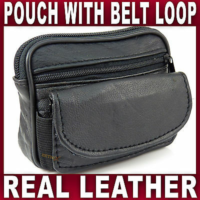 £4.39 • Buy Black Soft LEATHER BELT POUCH 2 Zipped Pockets Travel Taxi Bus Bag Gents Ladies