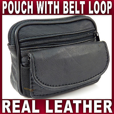 Black Soft LEATHER BELT POUCH 2 Zipped Pockets Travel Taxi Bus Bag Gents Ladies • 4.39£