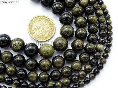 $ CDN5.23 • Buy Natural Golden Obsidian Gemstone Round Beads 15.5'' 6mm 8mm 10mm 12mm 14mm