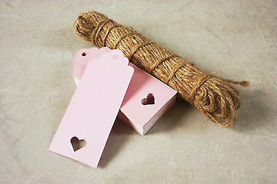 100 Pink Card Heart Gift Tags Wedding Scalloped Blank Luggage Tags And String • 3.99£