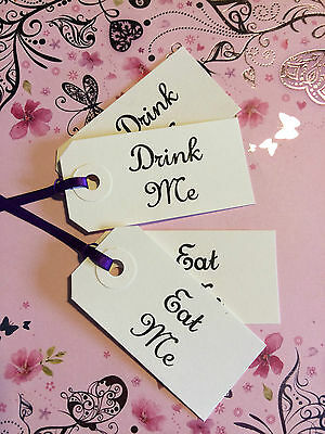 £2.10 • Buy 15 Drink Me Eat Me Small Alice Birthday Wedding Buffet Labels Tags White Kraft