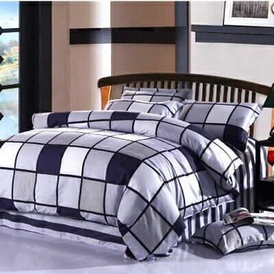 AU40.92 • Buy 100%Cotton Checked Quilt/Doona/Duvet Cover Set Single Double Queen King Size Bed