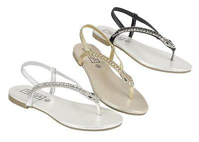 Ladies Gladiator Sandals New Womens Flat Strappy Fancy Summer Beach Shoes Size • 5.95£