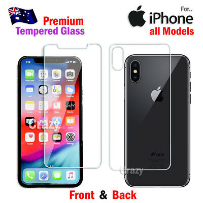 AU4.99 • Buy Front /Back Tempered Glass Screen Protector For Apple IPhone X XS Max 6 7 8 Plus