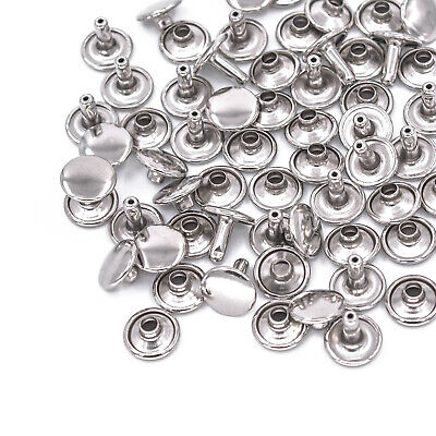 10mm 100pcs Silver Two Piece Double Cap Tubular Rivets Leather Punk Craft Repair • 3.75£