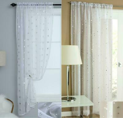 £8.54 • Buy Starlight Moon Or Stars Silver Sheer White & Shiny Voile Curtain Panel Slot Top