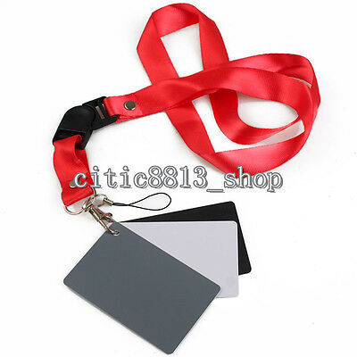 Digital Color Balance 18% Gray Card 3in1 Black Grey White For Photography Studio • 2.64£