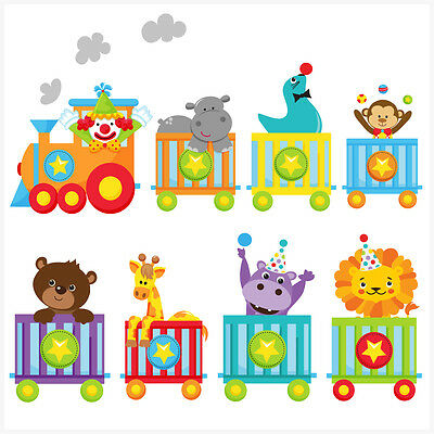 Childrens Circus Animal Train Wall Art Stickers Easy Elephant Lion Tiger Clown • 8.99£