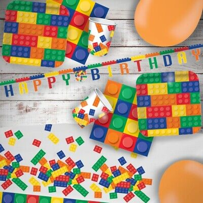 £4.99 • Buy Block Party Building Blocks Party Tableware, Decorations & Balloons