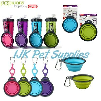 Dexas Popware Pets Dog Collapsible Travel Cup Bowl Water Snack Bottle Holder • 5.95£