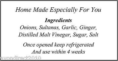 PERSONALISED INGREDIENTS LABELS Jam, Preserves, Pickles, Chutney • 3.60£