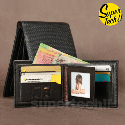 AU9.45 • Buy Premium Genuine Leather Mens Purse Bifold Black Business Credit Card Wallet OZ