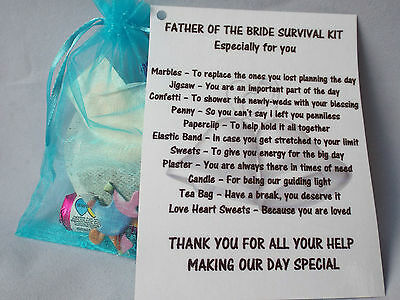 Father Of The GROOM/BRIDE Novelty Survival Kit Gift Keepsake • 3.49£