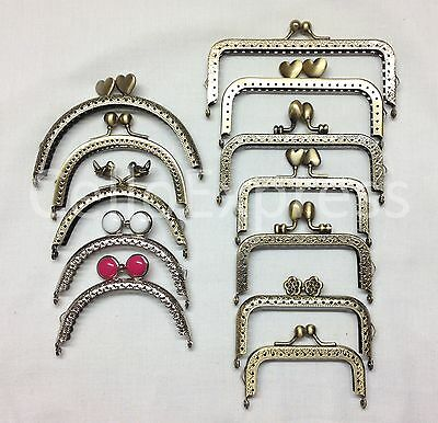 Purse Clasps Various Shapes & Sizes Kiss Lock Frame Mixed Metal Handle Findings • 2.89£