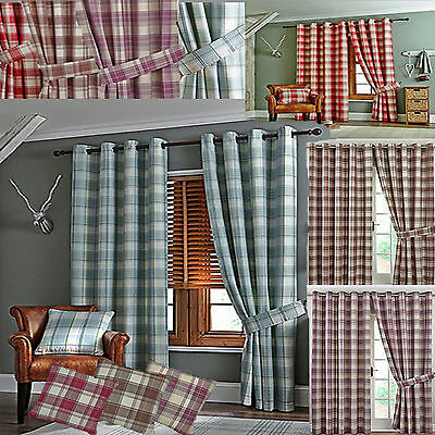 Lined Checked Ready Made Curtains Ring Top Eyelet - Heather/red/duck Egg/caramel • 25.99£