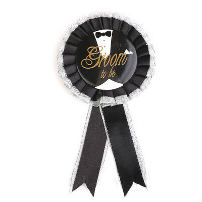8.5cm Mens GROOM TO BE ROSETTE BADGE STAG NIGHT Bachelor PARTY DO ACCESSORY • 2.59£