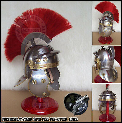 £20 • Buy Medieval Roman Centurion Armour Helmet W/ Red Plume & Free Stand Re-enactment