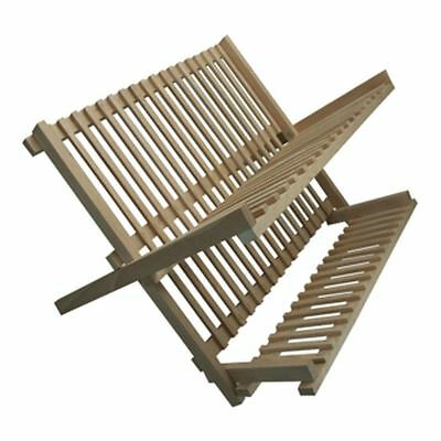Folding Beech Wood  Dish Plate Drainer Foldable Draining Board Wooden Rack New • 14.89£