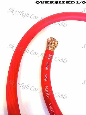 $54.95 • Buy 25 Ft 1/0 Gauge Oversized AWG RED Power Ground Wire Sky High Car Audio Cable