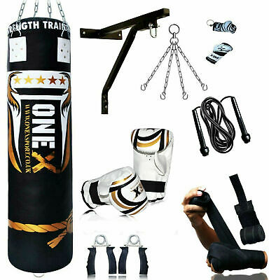 £25.66 • Buy 15 Piece Boxing Set 3/4/5ft Filled Heavy Punch Bag Gloves, Chains, Bracket, Kick