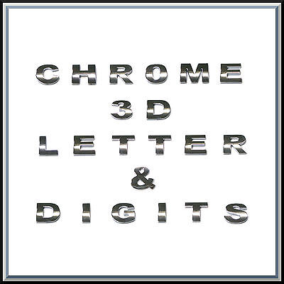 £1.49 • Buy 3D Chrome Self Adhesive Letters Digits Numbers Signs Emblem Badge Decal Stickers