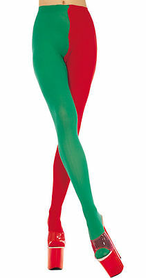 Red + Green Jester / Elf Tights Sexy Christmas Style Fancy Dress Lingerie P748 • 9.99£