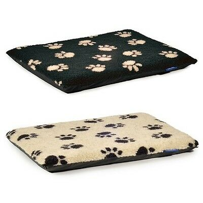 Ancol Flat Pad Dog Bed Black & Cream Paw Prints For Puppy Crate S, M, L, XL, XXL • 12.59£