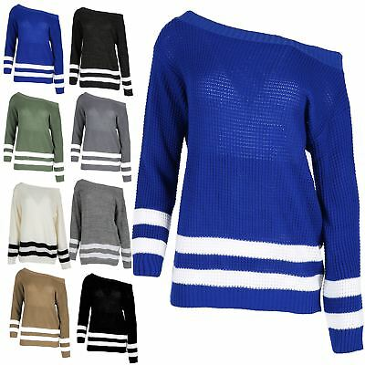 Ladies Off The Shoulder Jumper Womens Stripe Oversize Baggy Chunky Knitwear Top • 6.04£
