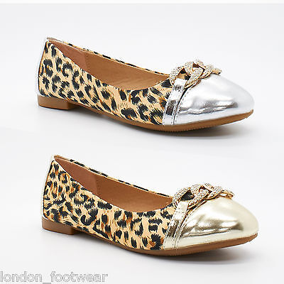 Girls Kids Leopard Print Shoes Diamante Soft Baby Ballet Pump Dolly Flat Size UK • 14.99£