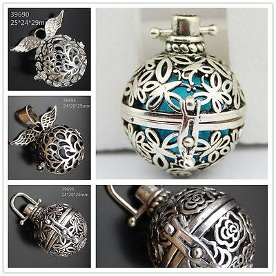 Mexican Bola Ball Harmony Ball Openable Silver Color Angel Caller Locket Pendant • 2.39£