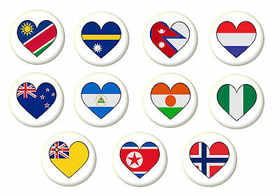 Country Flag Heart Pin Button Badge Magnet Keyring Bottle Opener Mirror - N • 1.80£