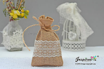 Hessian Favor Bags Wedding 25 X Burlap Wide Lace Birthday Goody Fillers Thanks • 25.99£