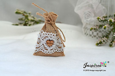 £21.99 • Buy Hessian Mini Favor Bags 25 X Wedding Wooden Heart Cotton Lace Party Goody Fill