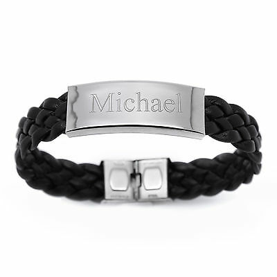£14.95 • Buy Personalised Men's Stainless Steel And Genuine Leather ID Bracelet Engraved Gift