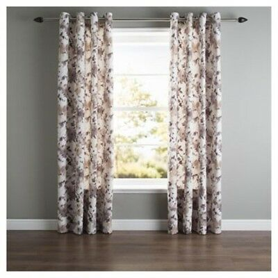 £16.99 • Buy Bold Hand Painted Floral Natural Lined Eyelet Curtains 64 X 54 Lounge Bedroom