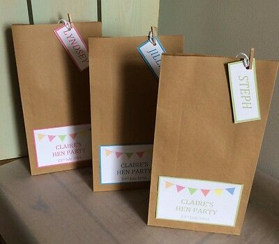 Personalised Vintage Brown Paper Favour Bags/Wedding/Christening/Hen/Gift/Party • 0.99£