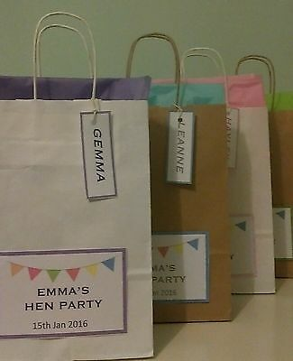 Personalised Wedding Favours Party Gift Bags With Tissue Paper/Hen/Christening • 0.99£