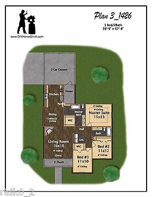 CAD DWG, And PDF Files For Custom Home House Plan 1,426 SF Blueprint Plans • 35.77£
