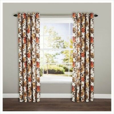 £16.99 • Buy Pair Of Bold Hand Painted Floral Red Lined Eyelet Curtains 44 X 54 Lounge Drapes