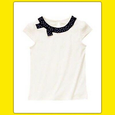 $12.99 • Buy NWT Girls 7 Gymboree BEE CHIC Short Sleeve SHIRT TOP Black Polka Dot Ivory TWINS