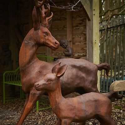 £1755 • Buy Cast Iron Frolicking Stag & Calf Statue - Ornament Home Garden Animal Feature